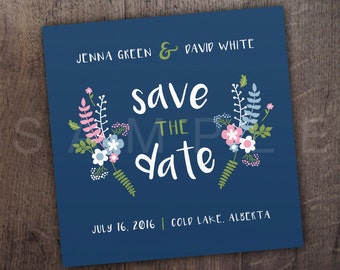 SAVE the DATE - Wedding Invitation Template - FLORAL - Printable - Print at Home - Invite - Square - Custom Wedding Invite - Navy - 2017