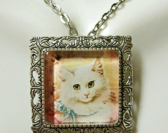 White cat with blue bow convertible pendant/brooch with chain - CAP35-026
