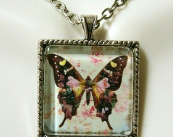 Butterfly art pendant with chain - WAP05-006