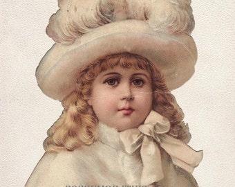 Vintage Victorian Scrap Winter Girl Colorful Collage Scrapbooking Instant Download Digital Image (CCPS1)