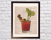 Bloody Mary Dictionary Art Print - Bar Art - Print on Vintage Dictionary Paper - Alcohol, Cocktail, Breakfast Drink