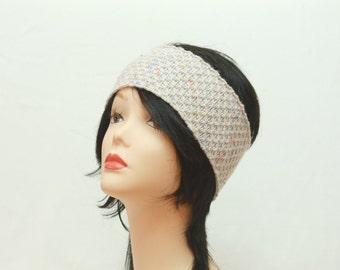 Headband knit head wrap women off-white boho Headband Knitted head warmer Ear Warmer boho head wrap knit