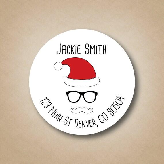 hipster santa address labels return address label christmas return