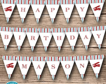 Airplane Birthday Party Banner, Printable, Plane, DIY, Digital, Personalized, Red, Blue, Stripes, Decorations, Fire and Vintage