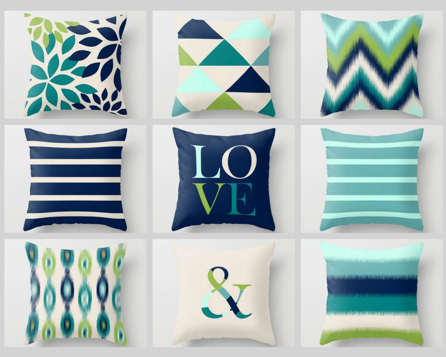 Navy And Teal Throw Pillows: Throw Pillow Covers Pear Green Navy Teal By HLBhomedesigns
