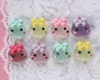 8 Pcs Tiny Chibi Candy Drops Cabochons - 17x14mm