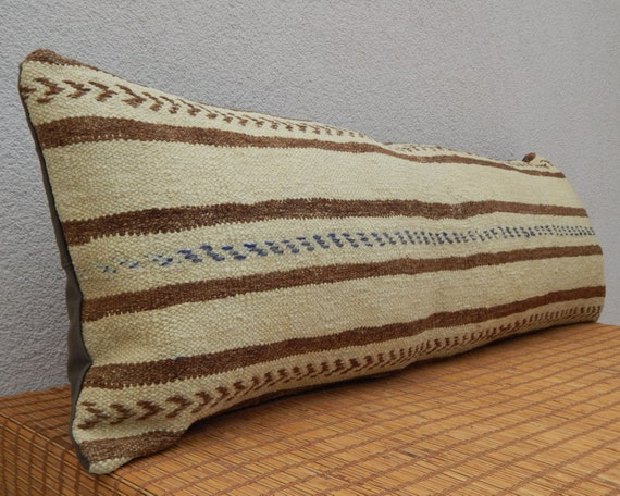 Extra Long Decorative Lumbar Pillow : 16 X 48 Extra Long Kilim Lumbar Pillow by Turkishgiftbazaar