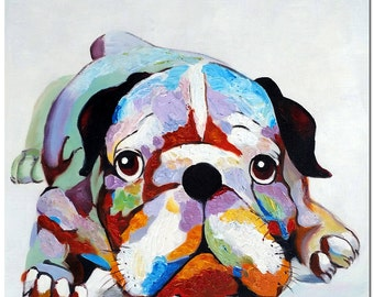 Signed Hand Painted Bulldog Oil Painting On Canvas - Certificate of Authenticity Included