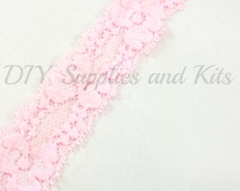 """1"""" Light Pink lace elastic - lace elastic by the yard - Lace for headbands - Light pink lace by the yard in 1, 3 or 5 yards"""