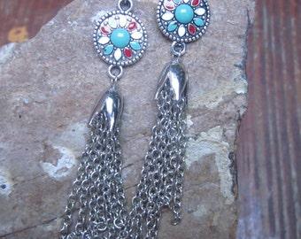 turquoise earrings tassel earrings bohemian jewelry southwestern earrings silver tassel red white turquoise charm long dangle drop earrings