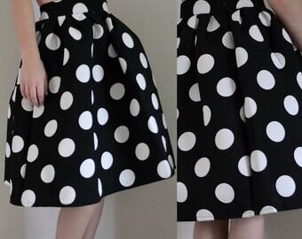 1950s Retro Polka Dot Rockabilly Circle Skirt / Size 10