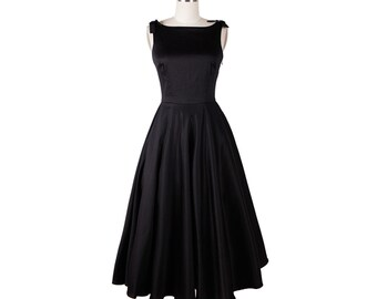 Black dress, A line prom dress, Wedding dress, LBD, Custom dress, Formal dress, Fit and flare dress, Party dress, Audrey Hepburn dress MS76