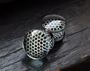 Black Honeycomb Glass Plugs