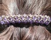 "Purple and Gold Beaded Barrette, Beaded Barrette, 3"" Barrette, Right Angle Weave Hair accessory, Beadwoven Barrette, Large Barrette"