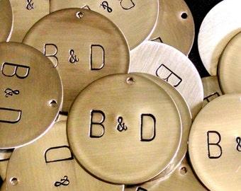 Hand Stamped Metal Monogram Charms -- Wedding Decorations -- Wedding Favors