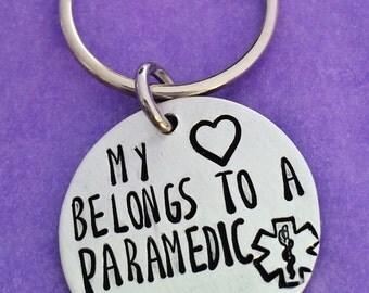 Heart Belongs To A Paramedic Keyring - My Heart Belongs to A Paramedic Keychain -Hand Stamped Keyring - Hand Stamped Keychain