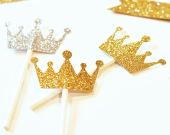 Gold & Silver Glitter Tiara Stickers, Shimmering Tiara Stickers, Glitter Labels, Glitter Tiara Cupcake Toppers  (EB3080)