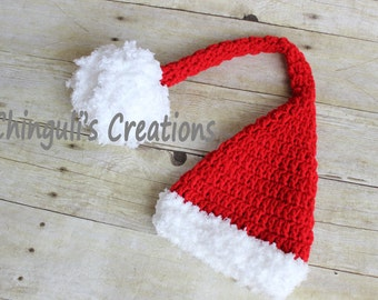 Crochet Christmas Elf Hat Red Santa Hat Newborn Christmas Hat sleepy Hat Baby Santa Hat Elf Hat Newborn Baby Santa Hat Baby Elf hat