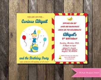 Curious George Invitation - Curious George Birthday Invitation - Monkey Invite Customizable Girls Boys Birthday Party Digital Printable