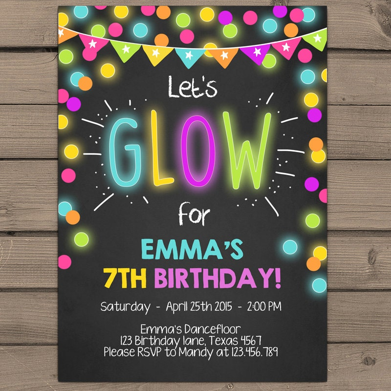 Insane image for free printable glow party invitations