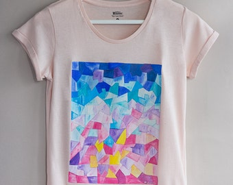Hand painted Colourful Women Tshirt: Sunrise