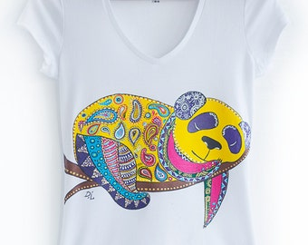 Hand painted Colourful Women T-shirt: Rainbow Panda