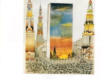 Vintage The New Yorker Cover Poster Print, 1960, Picture, Vintage Art Print, Item 001, Saul Steinberg, Skyline