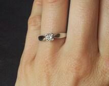 White Gold Square Cut Diamond Engagement Band Ring, Gold Diamond Ring, Classic Elegant Engagement Ring