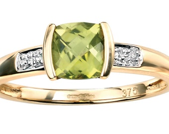 Square Peridot Ring With Diamond Edge, Peridot Jewelry, Green Ring, Fine Jewelry Diamond Yellow Gold Ring