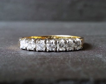 Gold Half Eternity Ring, Diamond Band Ring, 18 Carat Gold Diamond, Classic Elegant Engagement Ring, Anniversary Gift