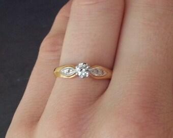 Art Deco Diamond Engagement Ring, 18 Carat Yellow Gold Diamond Engagement