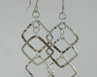 Handmade Hammered Sterling Silver Dangle Earrings 3 Squares or Diamonds