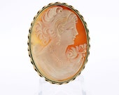 14K Brooch with Female with Pearls Cameo