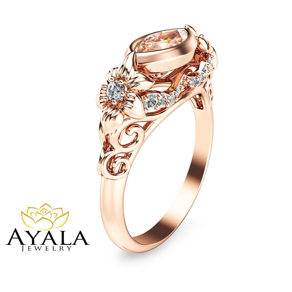 14K Rose Gold Engagement Ring Marquise Morganite by AyalaDiamonds