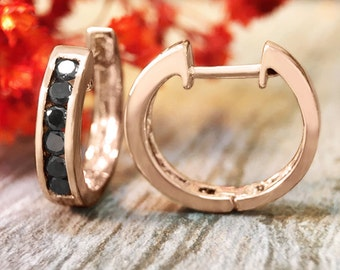 16MM Black Diamond Hoop <Channel> Solid 14K Rose Gold (14KR) Huggie Earrings *Fine Jewelry* (Free Shipping)