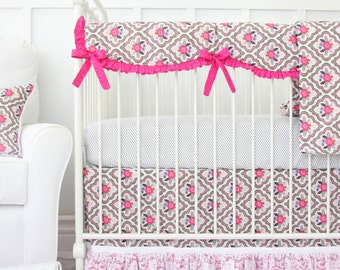 Vintage Floral Pink and Gray Crib Bedding - SWATCH SET