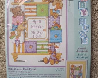 "Cross Stitch Kit - Baby Drawers Birth Record - by Dimensions #73538 - 9"" x 12"" - NEW NIP"