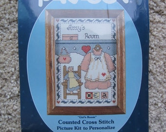 "Cross Stitch Kit - Girl's Room - Paragon #2569 - 5"" x 7"" - NEW NIP - Vintage 1986"