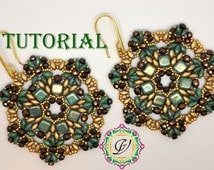 Earrings Clio TUTORIAL with Tile Beads, Superduo, Seed Beads, Fire Polished Beads