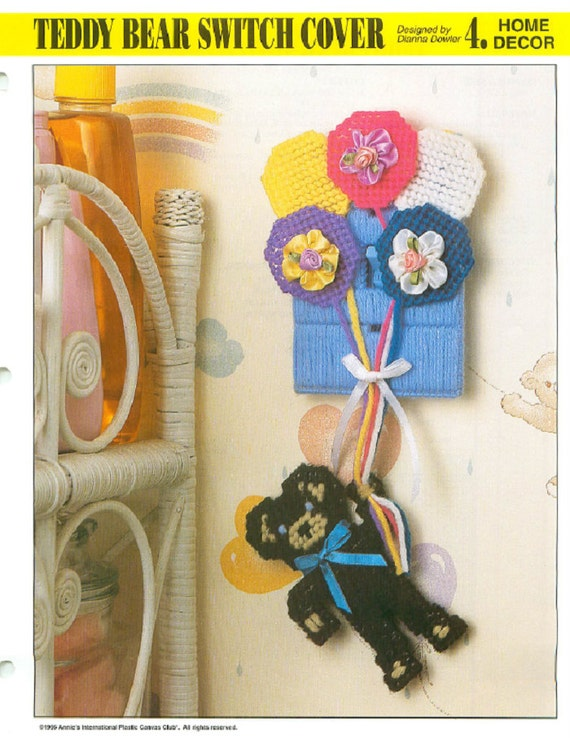 Plastic Canvas Pattern Leaflet Teddy Bear Switch Cover