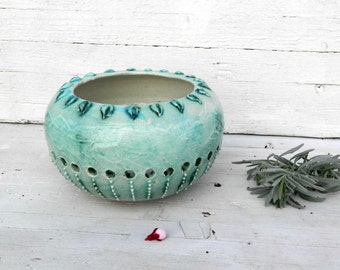 Natural sculpture ceramic teal green decorative candle holders