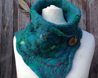 Woodland Pixie Nuno Felted Scarf Cowl in Green Hues Wet Felted Art to Wear!