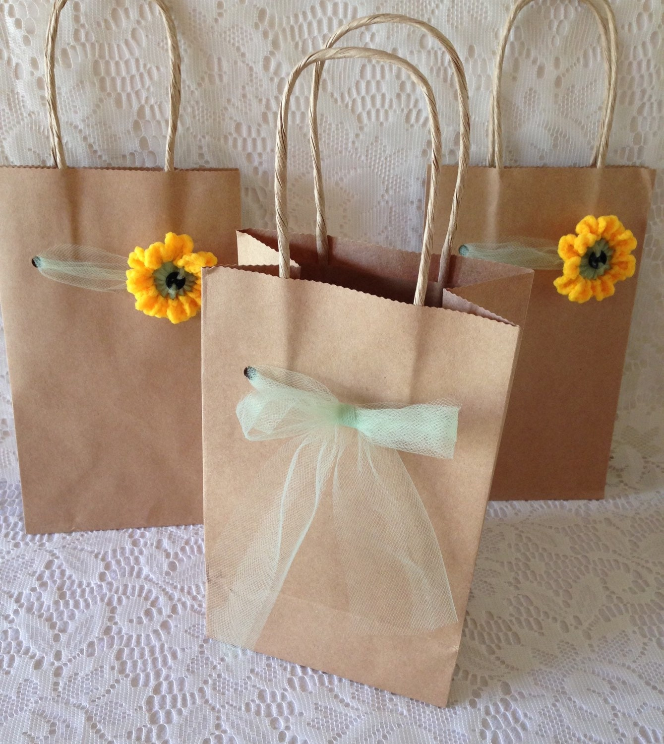 Sunflower Gift Bags 3 Kraft Brown Paper Gift Bags Decorated