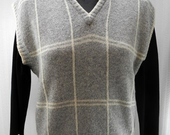 LL Bean Grey/Ivory Camel Hair/Lambswool Sweater Vest  Made in Ireland  Women's Medium
