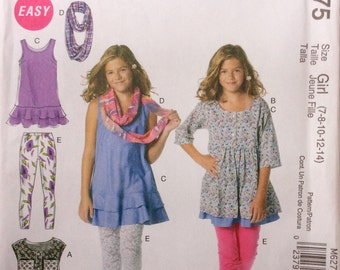 McCall's M6275 UNCUT Girls Dresses, Scarf and Leggings