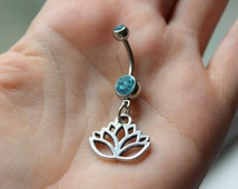 Lotus Flower Belly Button Ring, Lotus Charm, Opal Navel Ring, Dangle Belly Button, Blooming Lotus Flower, Lotus Jewelry, Opal Belly Ring