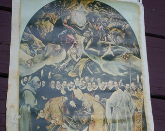 Vintage Vignette Reproduction of 'The Burial of Orgaz' by El Greco