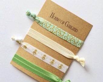 Green Bee set of 4 FOE hair ties - No Crease hair ties - Girls hair ties - FOE hair ties - Hair accessories - Ponytail - Hair Elastics