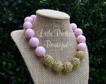 Pink and Gold Bubblegum Necklace, Chunky Necklace, Statement Necklace, Children's Necklace, Girl's Necklace, Chunky Bead Necklace, BN11