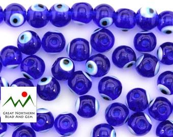 Eye Beads,Lucky Eye Beads,Evil Eye Beads,Glass Beads,Lampwork Beads,Hand Made Beads,Lampwork Glass,8MM Round,#EYE010225